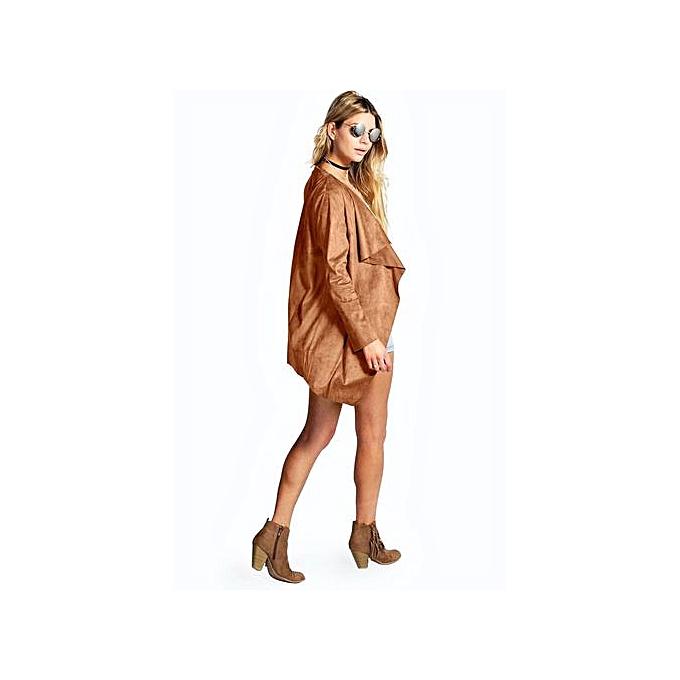 118355c62a8 Hiaojbk Store Women Autumn Long Sleeve Open Front Draped Coat Jacket  Cardigan Khaki/L-