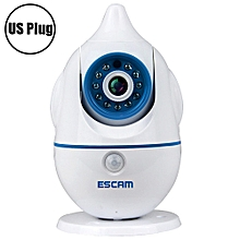 ESCAM Penguin QF521 Wireless WiFi Baby Monitor 1.0MP Support Two-way Audio Pan / Tilt Rotation WHITE US PLUG