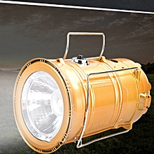 LED Flashlight Lantern Strechable Automatic Solar Charge USB for Camping Multi-function -Gold