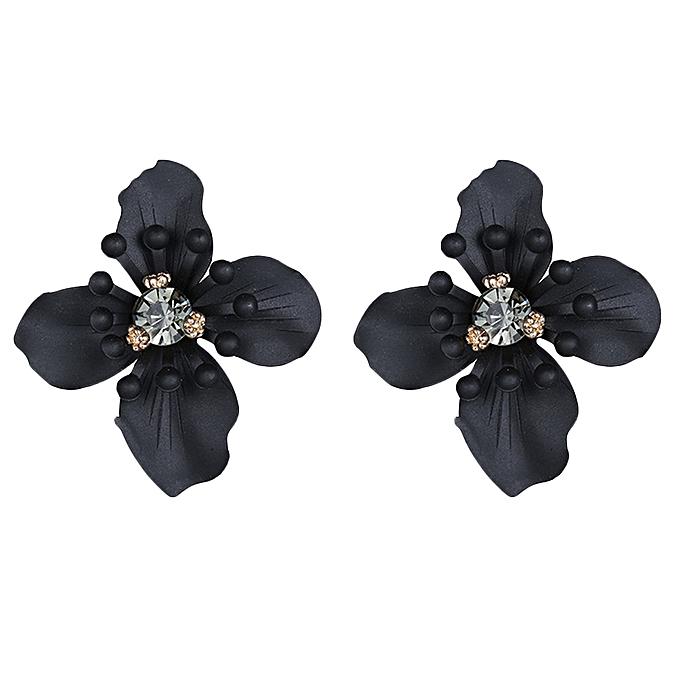 Vintage Crystal Flower Earring Stud Earrings Women Black Jewelry Trending Statement Jewellery For