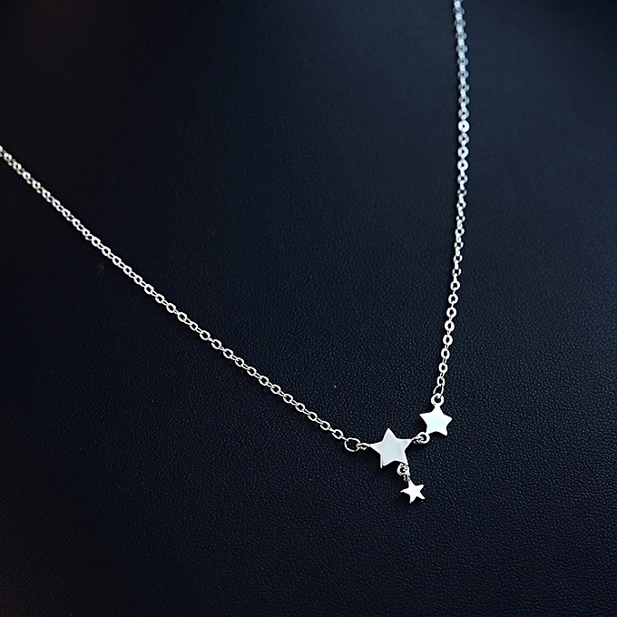 Generic S925 Sterling Silver Necklace Female Short Paragraph Clavicle Chain Fashion Sweet Star Pendant Collar To Send His Girlfriend BirthdayRomantic