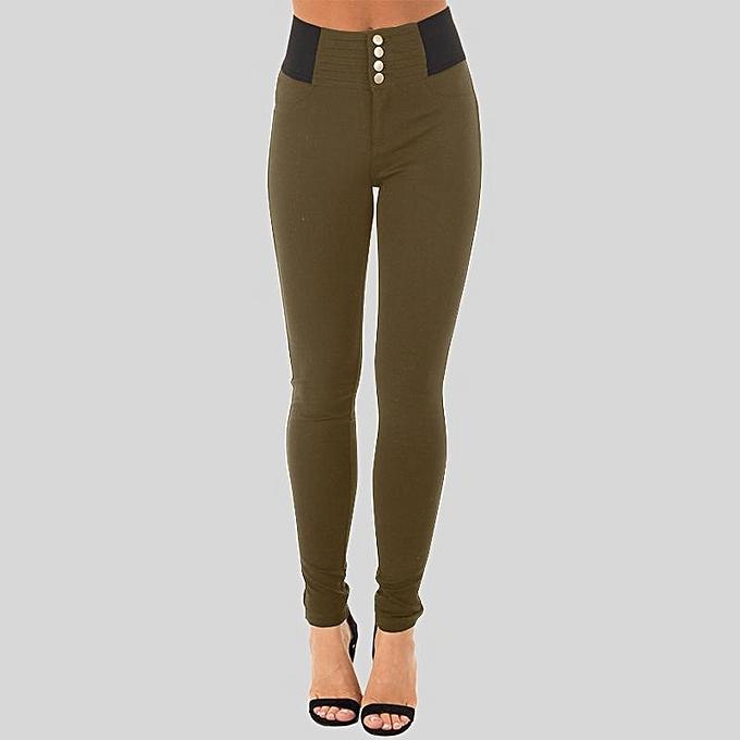 5abff0920b ZANZEA Women Slim Fit Jeggings Leggings Stright Leg Trousers Pencil Pants  Coffee