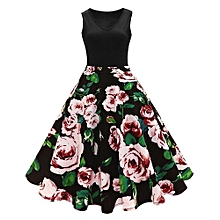 Woman Vintage Print Fit&flare Dress - Green