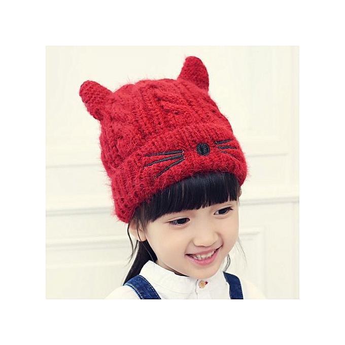 b1e77c7f807 Cute Baby Toddler Kid Elasticity Cat Pattern Beanie Knitted Winter Warm Hat  Cap- Red ...