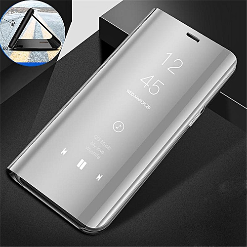 size 40 d2993 27392 Clear View Mirror Case For Samsung Galaxy J4 Plus + / J4Plus Leather Flip  Stand Case Mobile Accessories Phone Cases Cover (Silver)