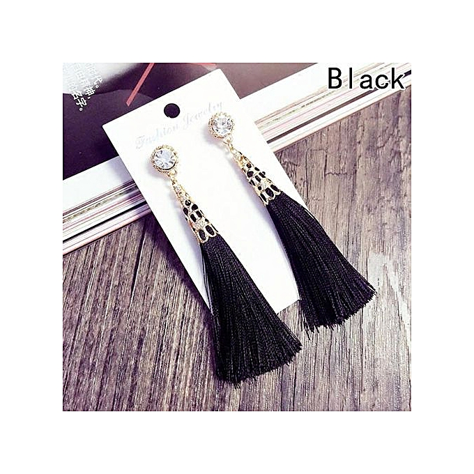 Women Girl Fashion Rhinestone Long Tassel Dangle Earrings Fringe Drop Earrings* Earring Findings Crafts