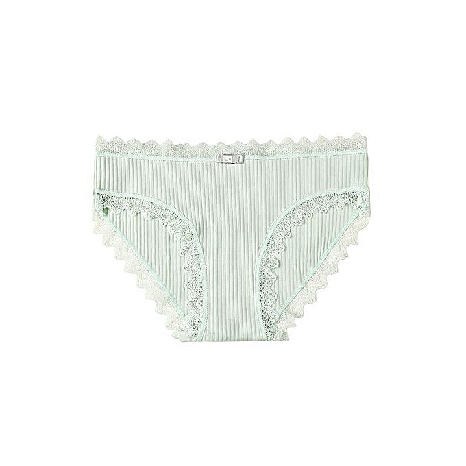 913875b62e1f Sweet girl underwear female cute seamless underwear lace side student  cotton briefs-green