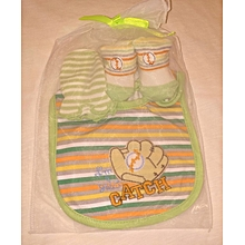 Cute Cotton Baby Feeder, Booties And Mitten Set - Green