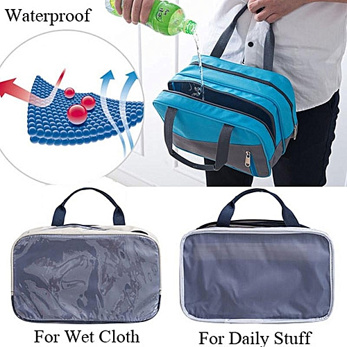 Blue+Grey Large volume waterproof sports bag men and women swimsuit bag wet  and dry 04721e56f7c37