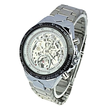 Blicool Wrist Watch WINNER Men Skeleton Automatic Mechanical Stainless Steel Band Watch WH-white