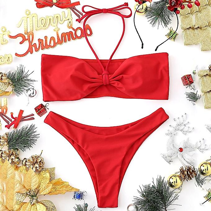 Strapless Padded Red Bikini Bandeau Set CQrxtdsh