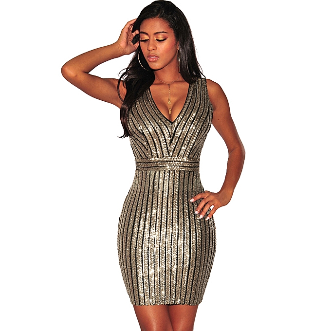 Sexy Women Sequined Dress Backless Deep V-Neck Sleeveless Cut Out Slim  Party Club Cocktail 9df2207c4