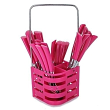 24 Pieces Cutlery Set With Caddy- Pink