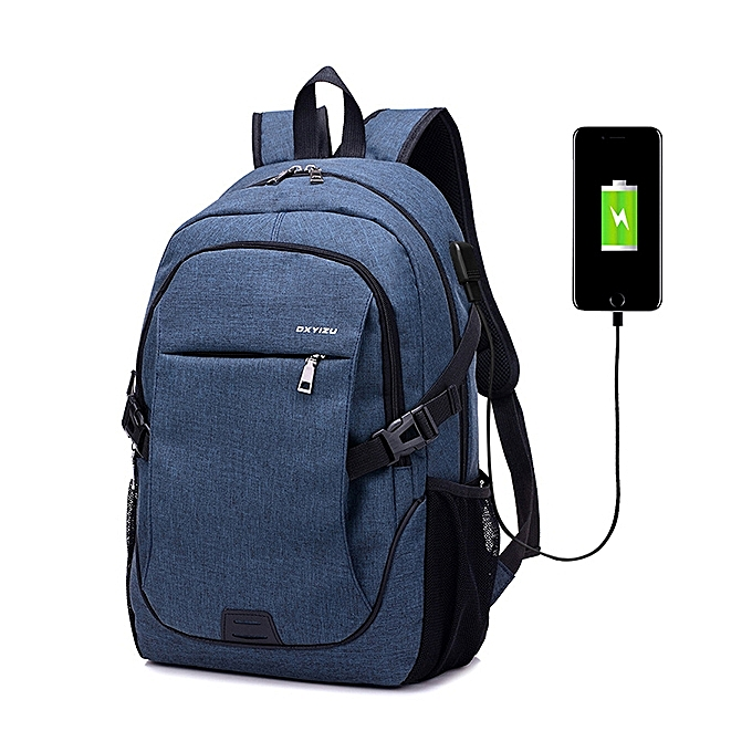 03c17b32958 Men Women Canvas Laptop Backpack Casual Daypack Travel Rucksack with USB  Charging Port