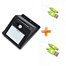 Super Bright 20 LEDs Solar Power PIR Motion Sensor Wall Light-Black,Get Two Free LED Android Cables
