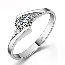 Silver 92.5 Sterling Engagement Ring With Reflective Crystal