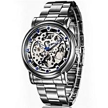 New Famous Brand Watch Automatic Mechanical Skeleton Wrist Whatch Men's Luxury Gold Dial Steel Strip Wristwatch(Silver)