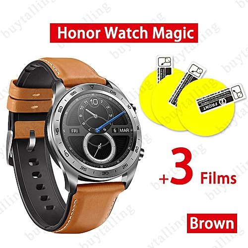 HUAWEI Honor Watch Magic Series Smartwatch Support NFC GPS Heart Rate  Tracker Android 4 4 iOS 9 0 and above System(#brown add 3 film)