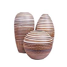 Ceramic Vase Set - Light Brown with White Details