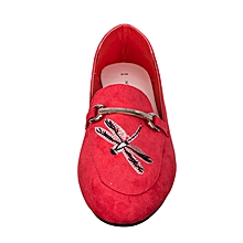 Red Suede Doll Shoes With Gold Band