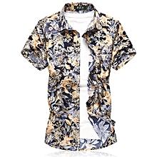 Print Men's Short Sleeve Shirts Turn-down Shirts (Blue)