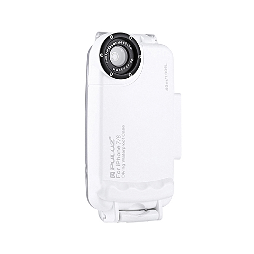 PULUZ for iPhone 7 & 8 40m/130ft Waterproof Diving Housing Case for Surfing  Swimming Photo Video Taking Underwater Cover (White)
