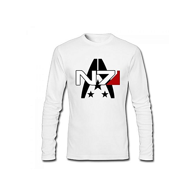 059f03138f Mass Effect Alliance N7 Special Forces Insignia Men's Cotton Long Sleeve  T-shirt White