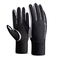 Touch Screen Winter Warm Fleece Lined Thermal Gloves For Riding Skiing gray & black