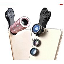 4 In 1 Camera Lenses Kit 10x Telephoto + 198 Fisheye + 0.63x Wide Angle & 15x Macro Clip-on Lens  For IPhone 7 6/6s Plus Samsung HTC Tablet Andriod Phone