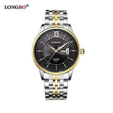 80079 Business Leisure Men Analog Quartz Date Calendar Watches Male Stainless Steel Strap WristWatch for Man - Gold