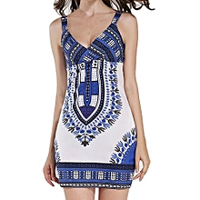 Tectores Fashion Trend Womens Dashiki African Printing Camisole Sleeveless Dress Fashion Sexy Dress