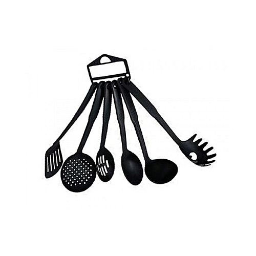 Non-Stick Cooking Spoons - 6 Pieces - Black
