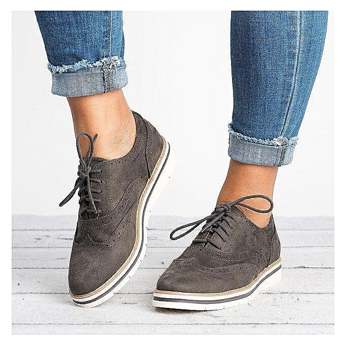 bd15d77d40990 Women Wing Tip Brogues Oxfords Casual Flats Dress Formal Stitched Lace Up  Shoes