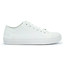 4040098b51347b White Canvas Unisex Shoes With Rubber Sole