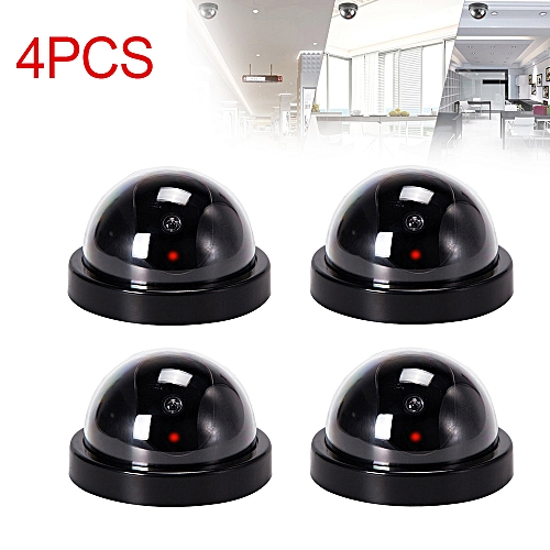 4 Pack Fake Dome Security Camera Decoy CCTV with Flashing Red LED Light  Dummy - black