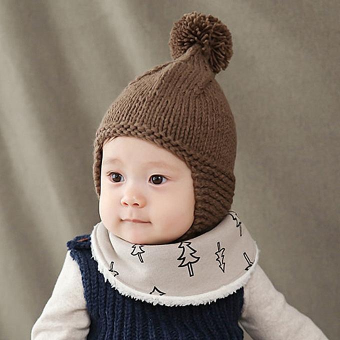 4db9c6d1222 Generic Cute Baby Toddler Girl Boy Elasticity Hairball Knitting Beanie Cap  Warm Hat - Coffee