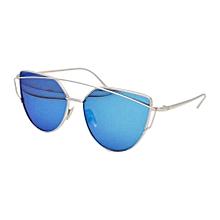 Unisex Fashion Color Film Uv400 Reflective Sunglasses (silver + Ice Blue)