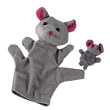 Family Finger Puppet Cloth Doll Baby Hand Cartoon Animal Toy Rabbit Milk Cow Rat