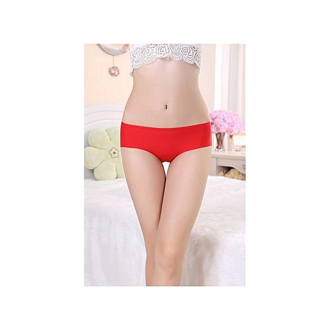 24e7c6c3f44e Large size ice silk panties women's one-piece seamless triangle underwear  middle waist briefs-