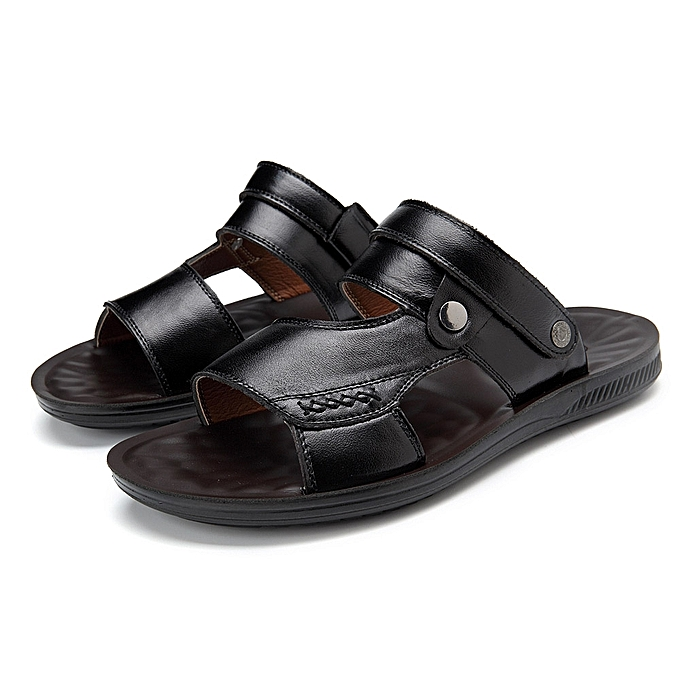 3f110af16961b ... Men Comfy Sole Genuine Leather Sandals Two Way Wear Shoes Beach Shoes  ...