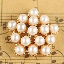 Pearl Crystal Rhinestone Button Flower Flatback Wedding Craft Embellishment H0311 NEW