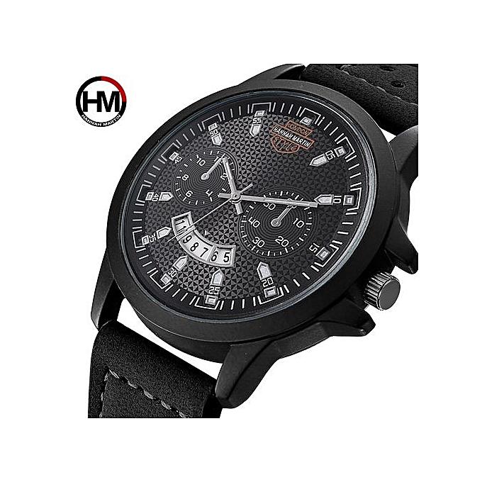 14d30d1c1 Hannah Martin Men Leather Strap Quartz Sports Casual Formal Watches ...