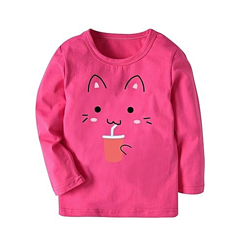 cc0323ae0ce06 Toddler Baby Girl Cartoon Cat Printing Tops Blouse Stripe T-shirt Outfit  Clothes