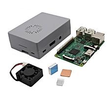 4 In 1 Raspberry Pi 3 Model B + Grey ABS Case + Aluminum Copper Heat Sink + Cooling Fan Kit