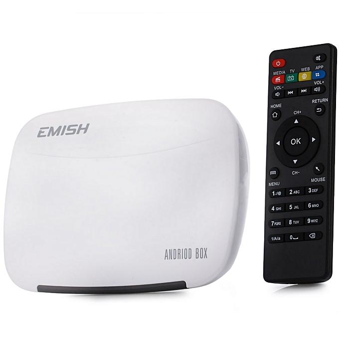 EmishEMISH X700 Mini PC TV Box Android 4 4 Rockchip 3229 Quad Core WiFi  HD1GB 8GB Support Remote Control-WHITE