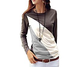 Women O-Neck Long Sleeve Patchwork Slim T-Shirt Tops-Coffee