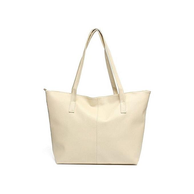 72e98b1dfd0a Fashion Handbag Lady Shoulder Bag Purse PU Leather Women Large Messenger  Tote Beige