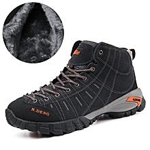 Winter Fleece Men Outdoor Hiking Mountain Shoes Leather Men Climbing Trekking Shoes Warm Up - Grey