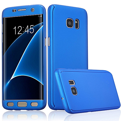 360 Degree All-around Full Body Slim Fit Lightweight Hard Protective Skin Case Cover without Screen Protector for Samsung Galaxy S7 Edge (Blue)   XXZ-Z