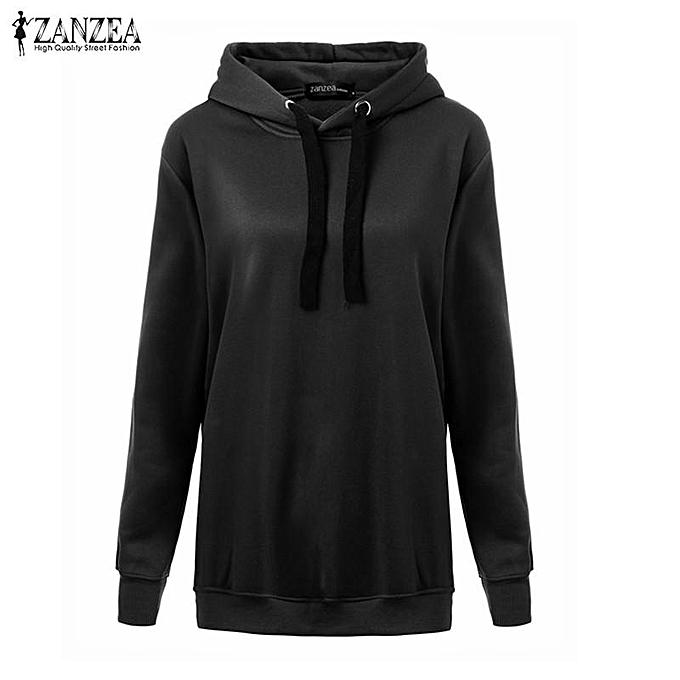 53324879f37 ... ZANZEA Women Casual Hoodies Sweatshirts Hoody Pullover Leisure Autumn  Long Sleeve Hem Split Solid Outwear Tops ...